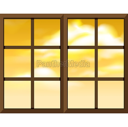 window frame template with outside view
