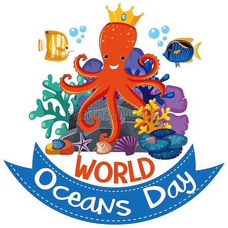 world oceans day logo or banner