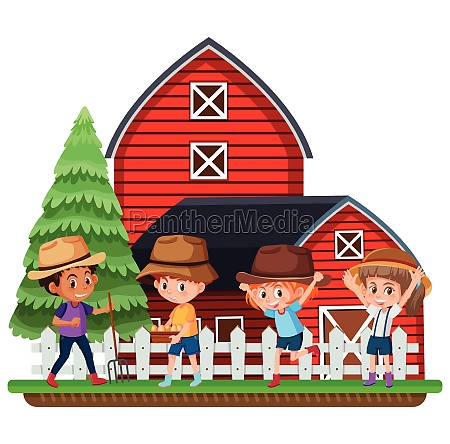 farmers infront of red barn