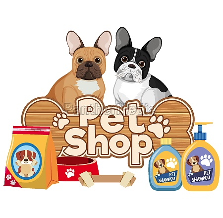pet care logo or banner with