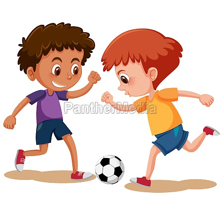 happy boys playing soccer on white