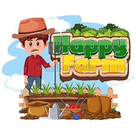 font design for happy farm with