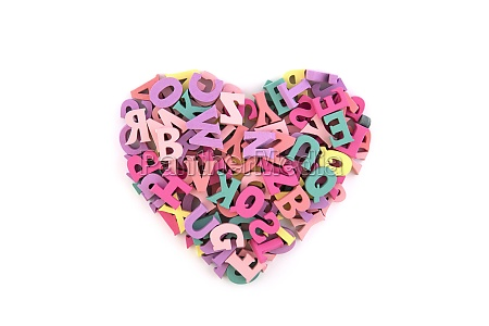 heart shape from colorful letters typographic