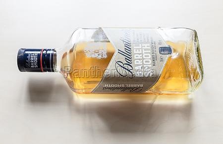 bottle of ballantines barrel smooth whisky