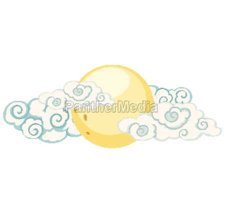 isolated moon and cloud chinese style