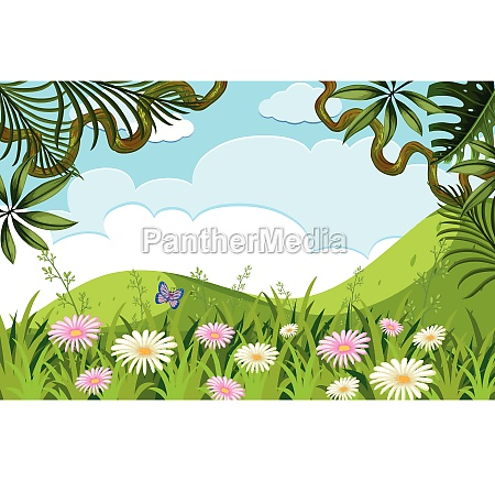 nature scene with flowers on the