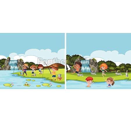 a river activity scene