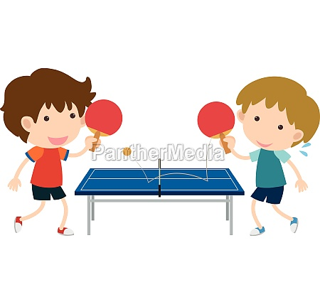 two boys playing table tennis