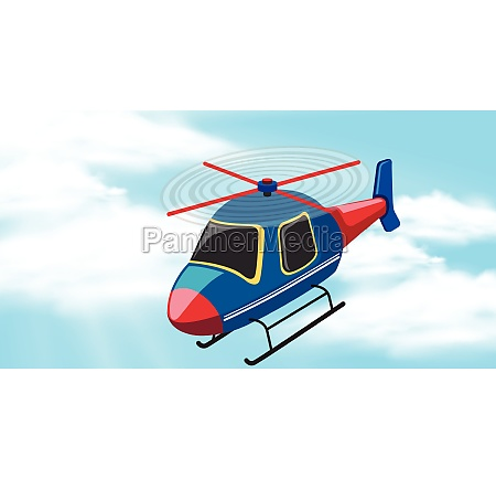 sky background with helicopter flying
