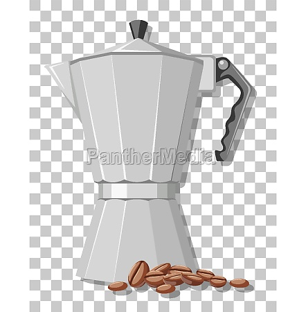 moka pot with coffee beans isolated