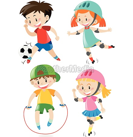 four kids doing different sports