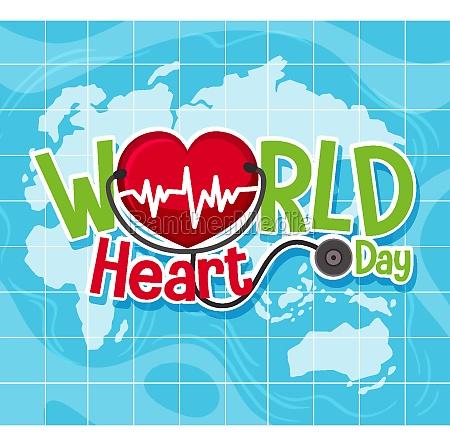 isolated world heart day logo