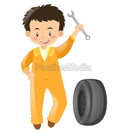 mechanic in yellow uniform with tools