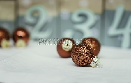 red christmas balls with decoration on