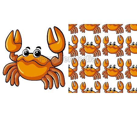 seamless background design with cute crab