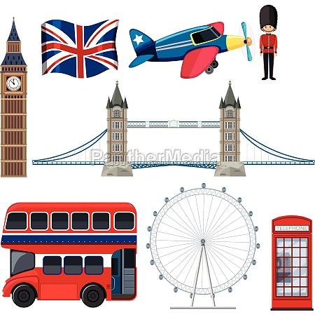 a set of england tourist element