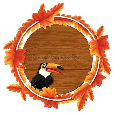 round autumn leaves banner template with