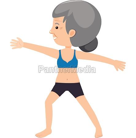 elderly lady doing yoga
