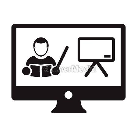 online class icon vector teacher symbol
