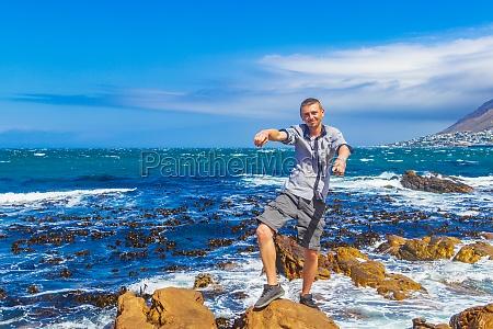 male model tourist traveler coast landscape