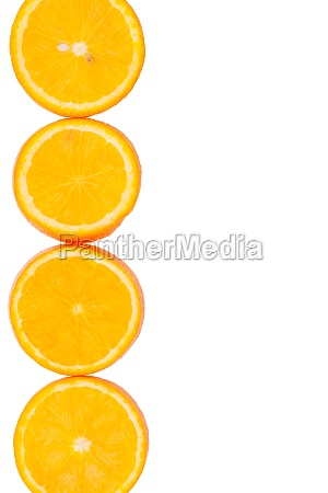 sliced oranges with a place for