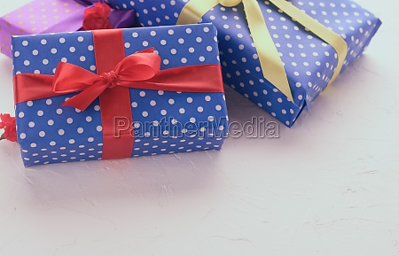 boxes packed in festive blue paper