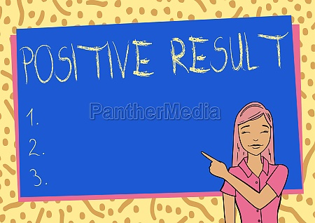 hand writing sign positive result word