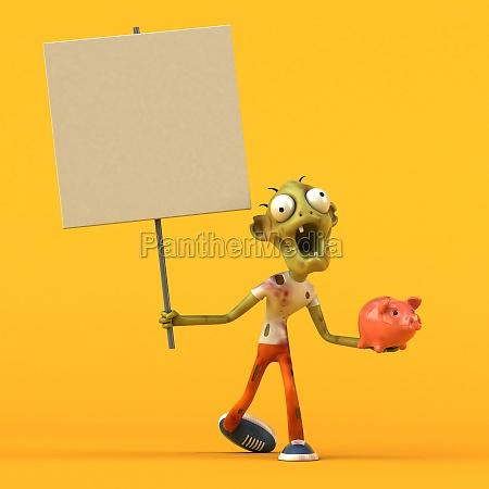 fun zombie 3d illustration