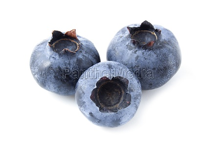 ripe blueberries isolated on white background