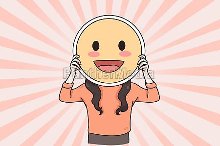 positive emoji and copy space concept