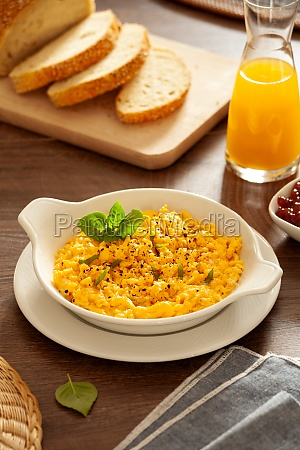 plate of organic scrambled eggs for