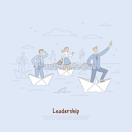 brave businessman and employees sailing on
