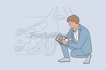 accident examination checkup collision automobile concept
