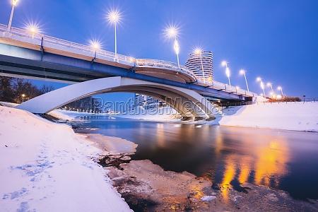poland subcarpathia rzeszow illuminated bridge in