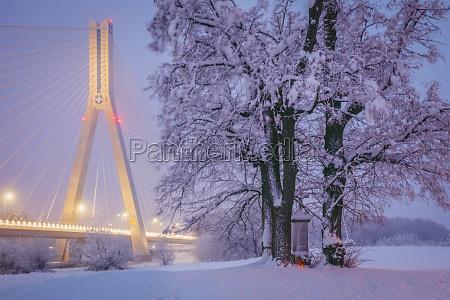 poland subcarpathia rzeszow suspension bridge at