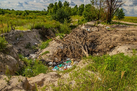 garbage dump on nature the