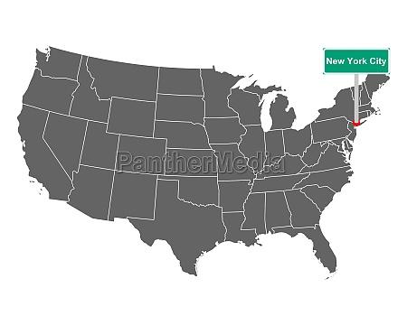 landkarte der usa mit orstsschild new
