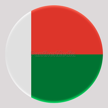 3d flag of madagascar on circle