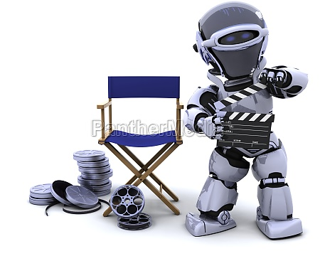 robot with clapper boards and film
