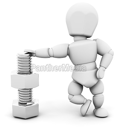 person with nut and bolt