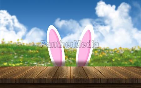 3d easter bunny ears against a