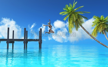 3d female jumping off a jetty
