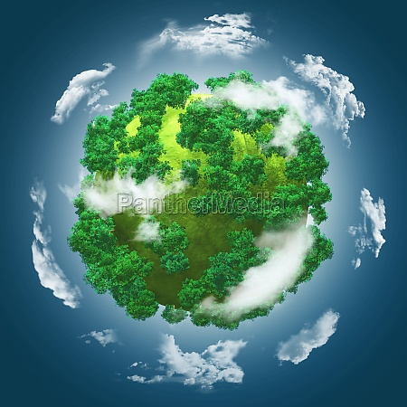 3d grassy globe with trees against