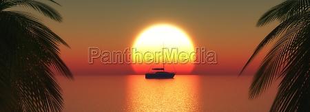 3d yacht on a sunset ocean