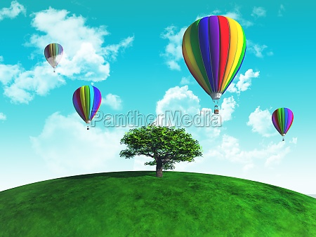 hot air balloons with tree on
