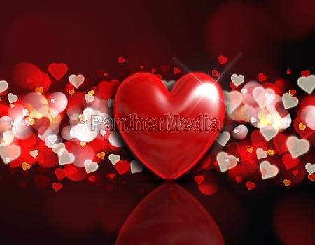 3d heart on a bokeh light