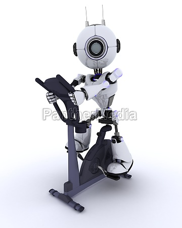 robot at the gym on an