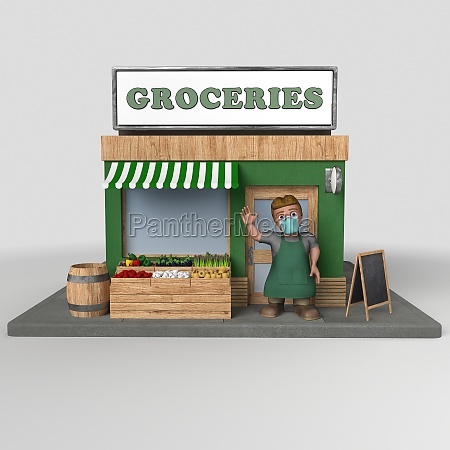 3d cartoon shop keeper character