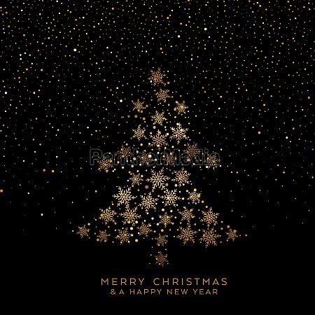 golden christmas tree of snowflakes