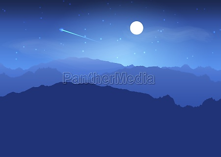 mountain landscape at night